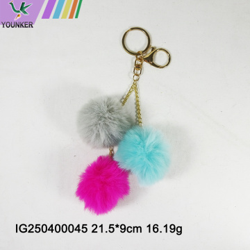 3PCS Faux Rabbit Fur Ball Keychain With pompom