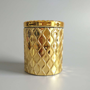 Airtight Gold Glass Candle Jar