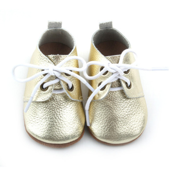 New Styles Real Leather Baby Gold Oxford Shoes