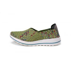 Women Green Lightweight And Airy Woven Elastic Slip-ons