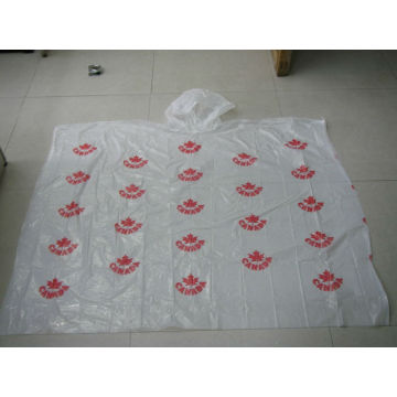 white PE rain poncho with full printing