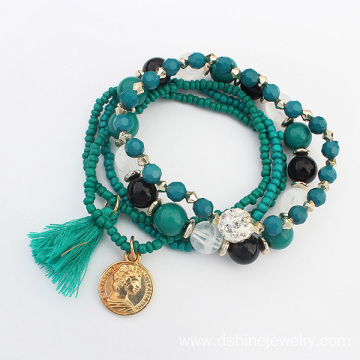 Multi Layers Beads Handmade Bracelet With Shamballa Ball