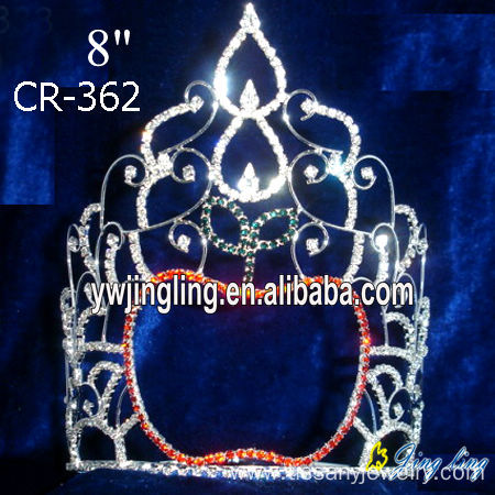 "7"" wholesale rhinestone holiday Christmas pageant crowns"