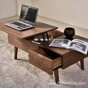 Customized for Small Coffee Tables Rattan Lift Wood Coffee Table with Drawers supply to Indonesia Supplier