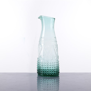 Unique Green Colour Raised Design Glass Pitcher