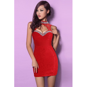 low cut sexy lace dress bag hip Club