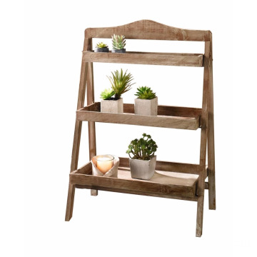 Foldable Wooden Plant Stand for Outdoor or Greenhouse