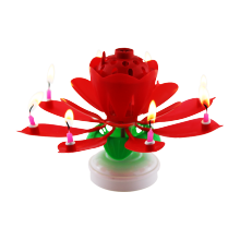 Rotating Lotus Flower Birthday Musical candle