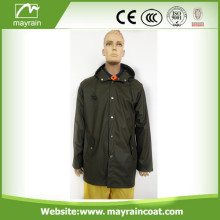 Dark Green PU Raincoat for Men