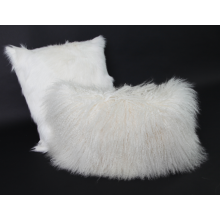 Tibetan Lamb Fur Cushion Natural White