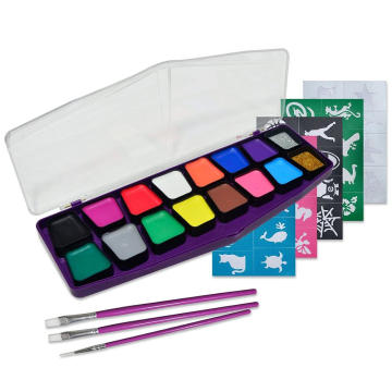 Non-Toxic Body and Face Paint Palette with Brushes