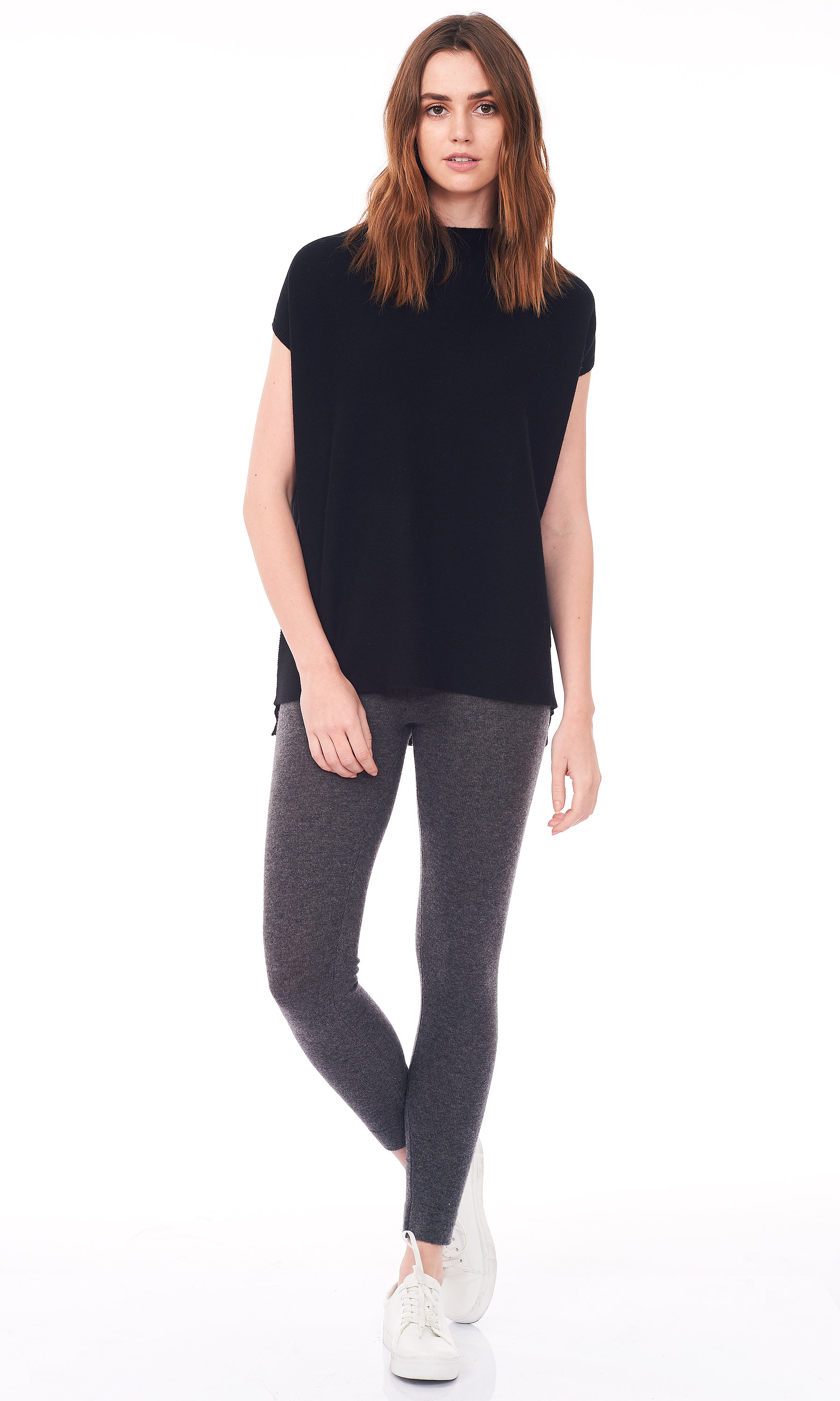 black short dolman sleeve sweater front