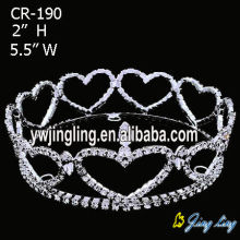 Heart Shape Rhinestone Cheap Full Round Crown