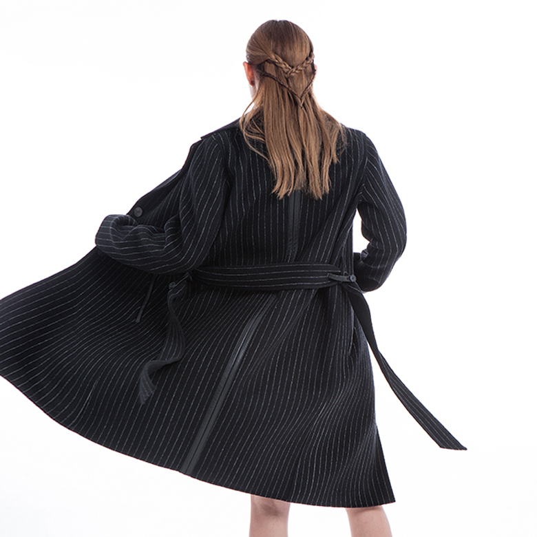Black Striped Winter Outwear with Belt
