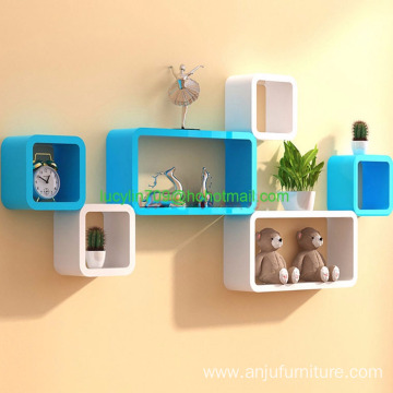 Wall Shelves Cube Shelf White Wooden Book Storage Home Decor Ledge Organizer