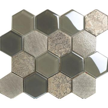 Marble Glass Mixed Hexagon Mosaic Tile
