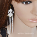 White Lace Earring With Chains Tassel Hook Earring