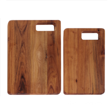 Rectangle teak wood chopping board with portable hole