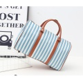 New Womens Ladies Stripe Tote Luggage Duffle Bag