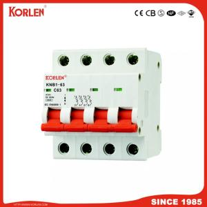 Miniature Circuit Breaker MCB Knb1-63 1~5A 6~25A 32~63A 3p 6ka  can be connected with busbar
