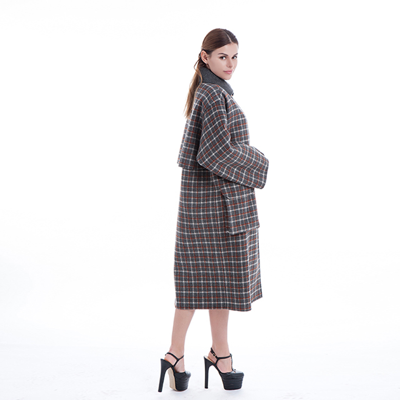 Chequered Double-breasted Cashmere Windbreaker