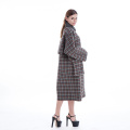 Chequered double-breasted cashmere overcoat
