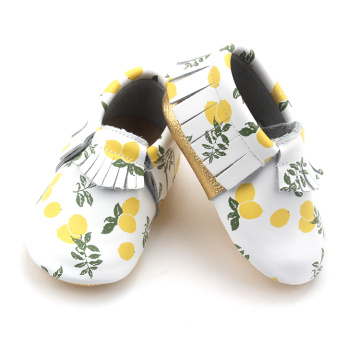 Fresh Lemon Pattern Moccasins Soft Baby Shoes