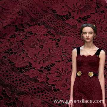 Red Floral Cotton Chantilly Lace