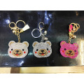 Customized Bear Rainbow Color Key Chain Rhinestone Keyring