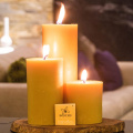 Flat top Hand made beeswax pillar candle