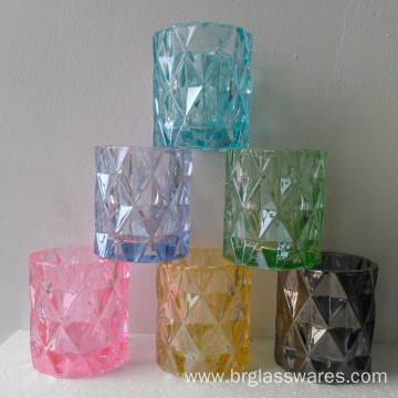 Unique Diamond Design Colored Glass Candle Jar