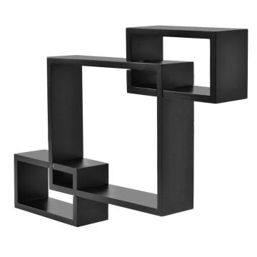 Black Intersecting 3 Rect Boxes  Floating Shelf Wall Mounted Home Decor Furniture