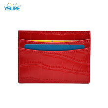 Slim Rfid Blocking Crocodile Leather Card Holder