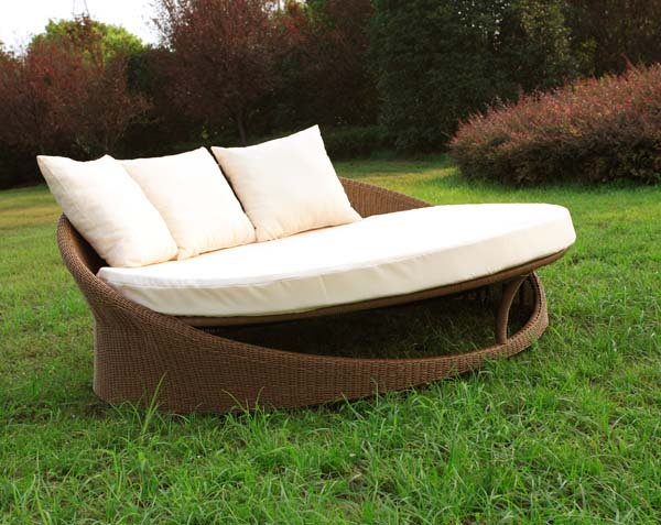 Round Sun Lounger Daybed with Canopy