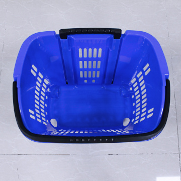 Supermarkets red plastic shopping basket with wheels