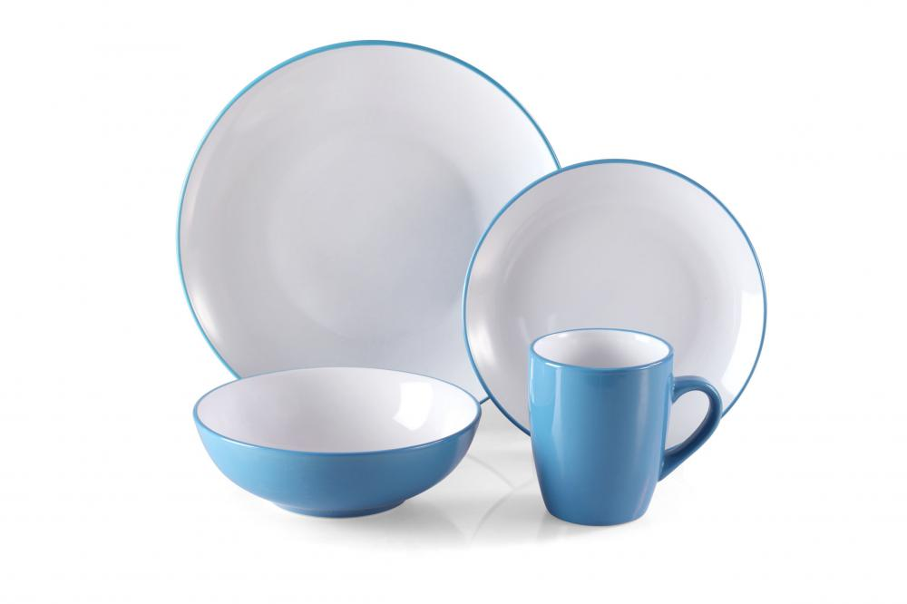 2-tone color ceramic dinner plate cereal bowls