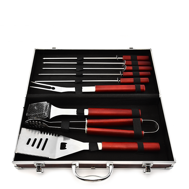 9PCS Wooden Handle BBQ Set With Aluminum Case