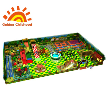 Green Trampoline Park Design With Large Slide For Kids