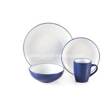 16 Piece Two Tone Color Dinner Set Blue