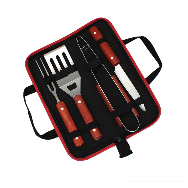 Wooden Handle 4pcs Barbecue Cooking Tools Set