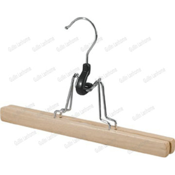 Natural Solid Wood Skirt Hanger with chrome Hook