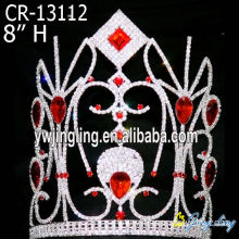 "8"" Big red rhinestone custom pageant crowns"