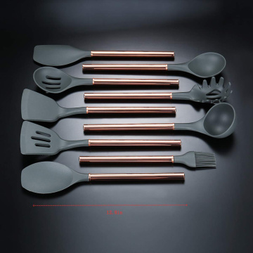 premium silicone utensil set with stainless steel holder