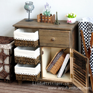 chinese cheap wholesale antique furniture solid wood cabinet rattan basket drawers