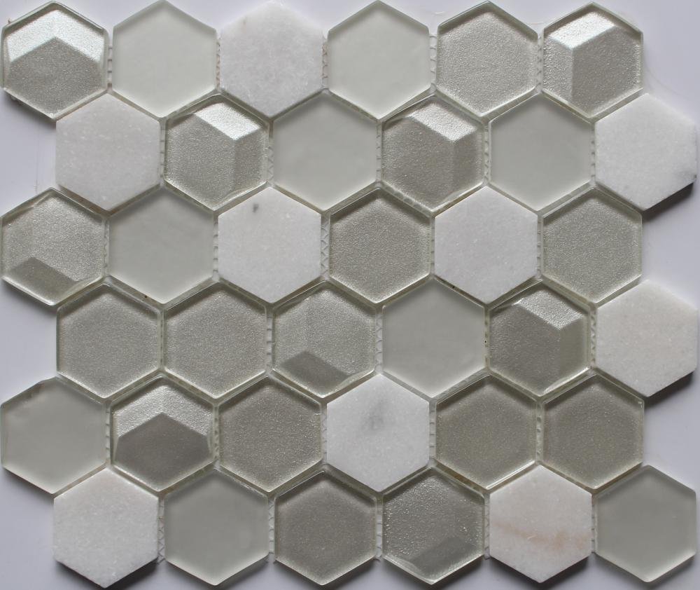 3D Effect Mini Hexagon Mosaic Tile