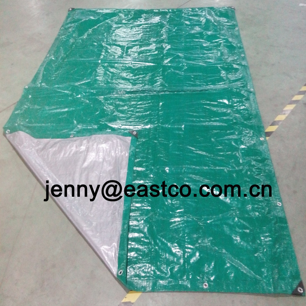 UV Medium Duty Green Silver Tarpaulin with Aluminium Eyelet and Reinforced Corner Bars