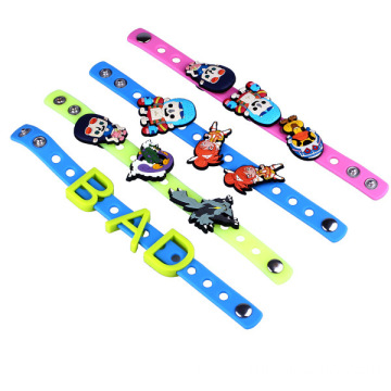 China for Rubber Bracelets DIY Silicone Band With Charm Beads Wristband With Buckle export to Kenya Factory