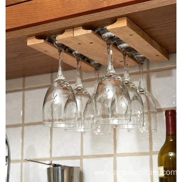 Wood hanger storage rack for wine glass