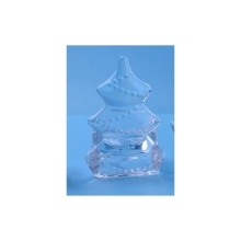 Clear Glass Christamas Tree Tealight Holder