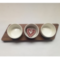 Wood breakfast tray & ceramic bowl